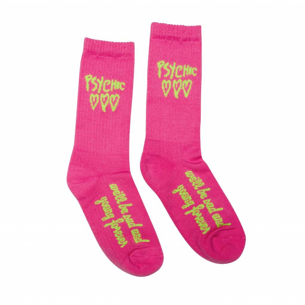 Psychic Hearts Psychic Hearts Logo Socks Hot Pink