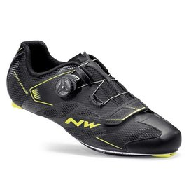 Northwave Northwave, Sonic 2 Plus Wide, Road shoes, Black/Yellow Fluo