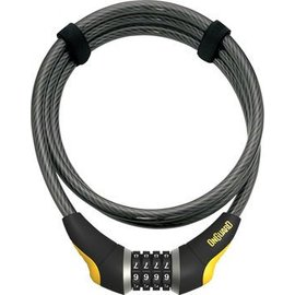 OnGuard OnGuard Akita Resettable Combo Cable Lock: 6' x 10mm, Gray/Black/Yellow