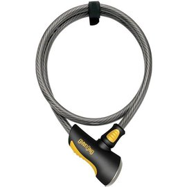 OnGuard OnGuard Akita Non-Coil Cable Lock with Key: 10' x 12mm, Silver/Black/Yellow