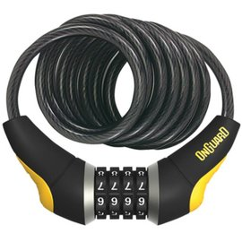 OnGuard OnGuard Doberman Combo Cable Lock: 6' x 10mm, Gray/Black/Yellow