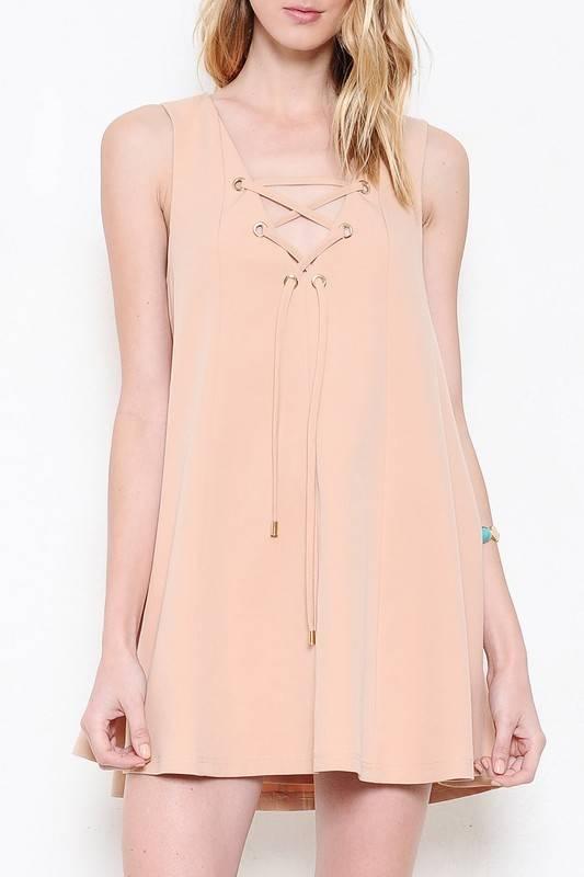 Date Night Lace Up Dress