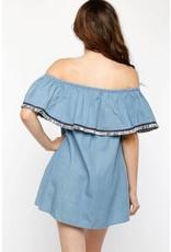 Flounce Chambray Dress