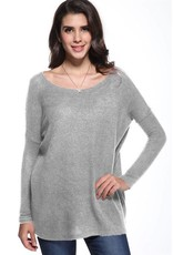 Scoop Neck Piko Sweater Top