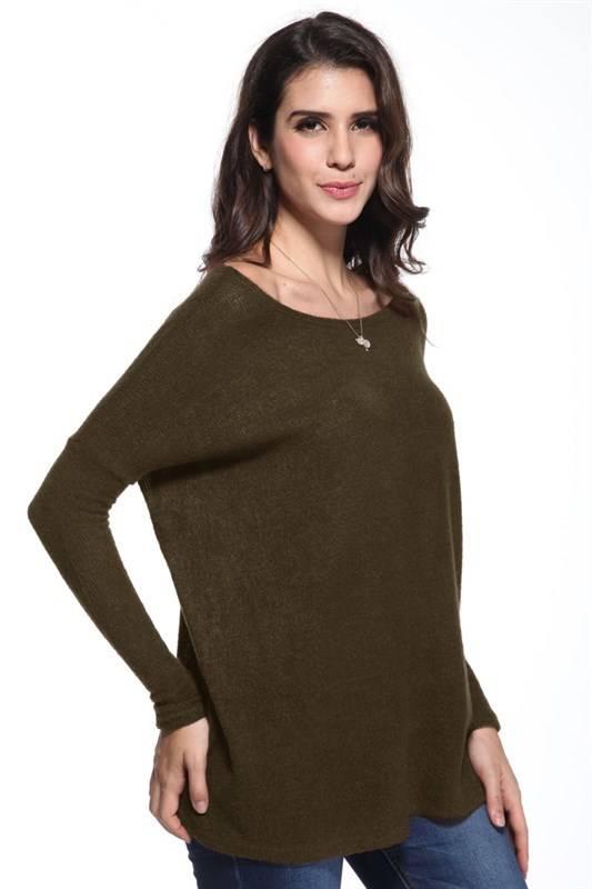 Scoop Neck Piko Sweater Top