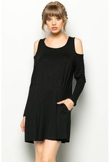 Colder Shoulder Long Sleeve Swing Dress