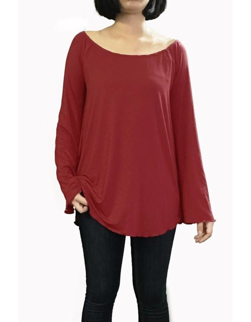 Off The Shoulder Long Sleeve Piko Top