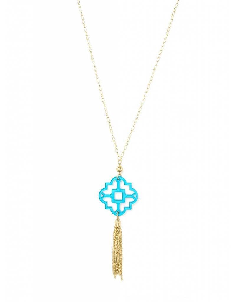 Zenzii Mosaic Tassel Necklace Blue