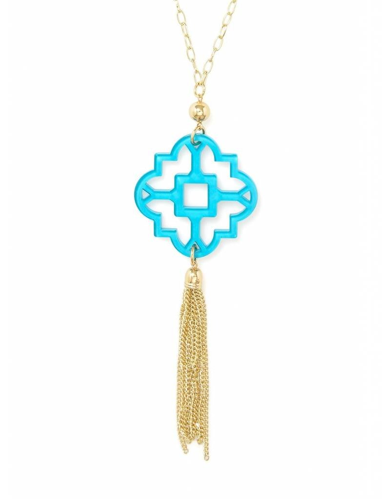 Zenzii Mosaic Tassel Necklace Blue