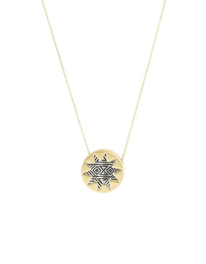 House of Harlow 1960 Engraved Mini Sunburst Pendant Necklace
