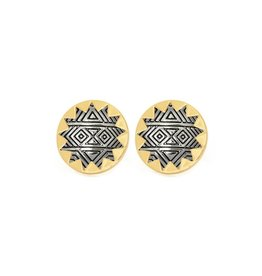 House of Harlow 1960 Large Engraved Sunburst Button Earrings