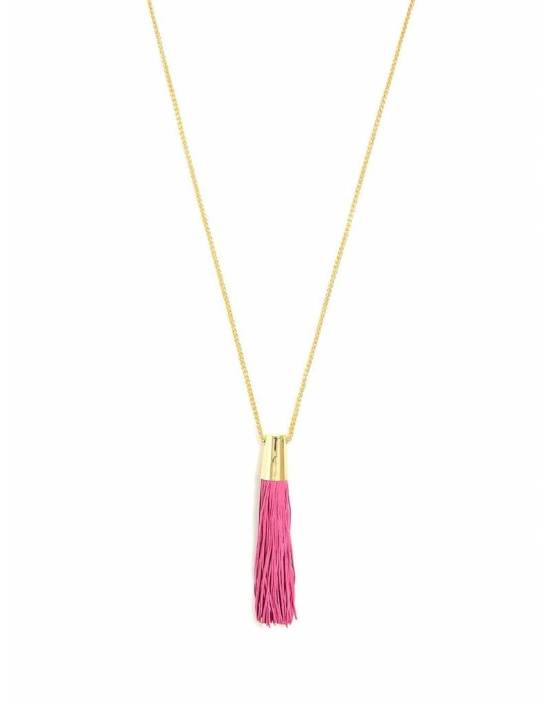 Zenzii Leather Threads Necklace Hot Pink