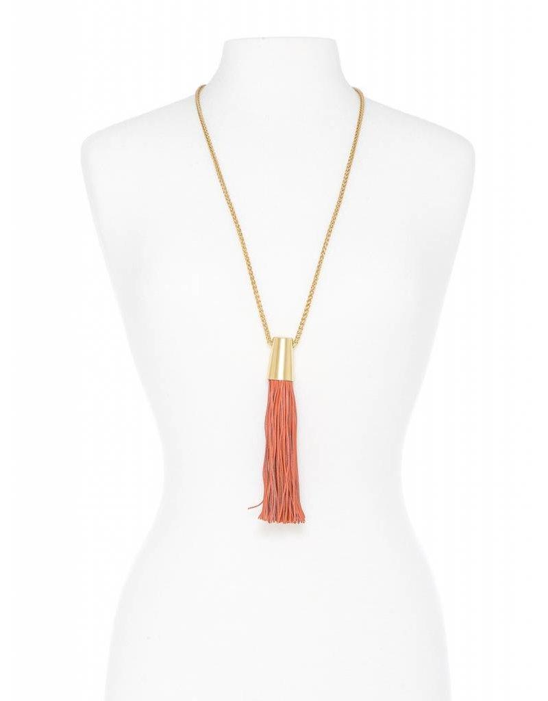 Zenzii Leather Threads Tassel Necklace Orange