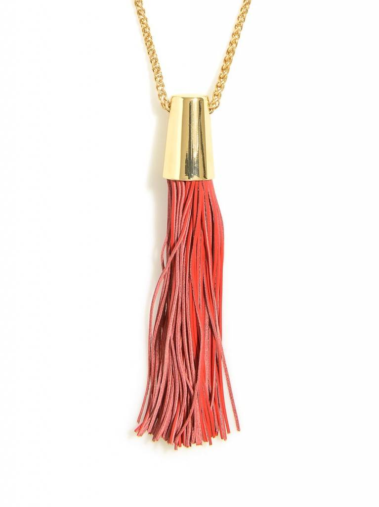Zenzii Leather Threads Necklace Red