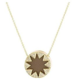 House of Harlow Mini Pave Sunburst Necklace Khaki