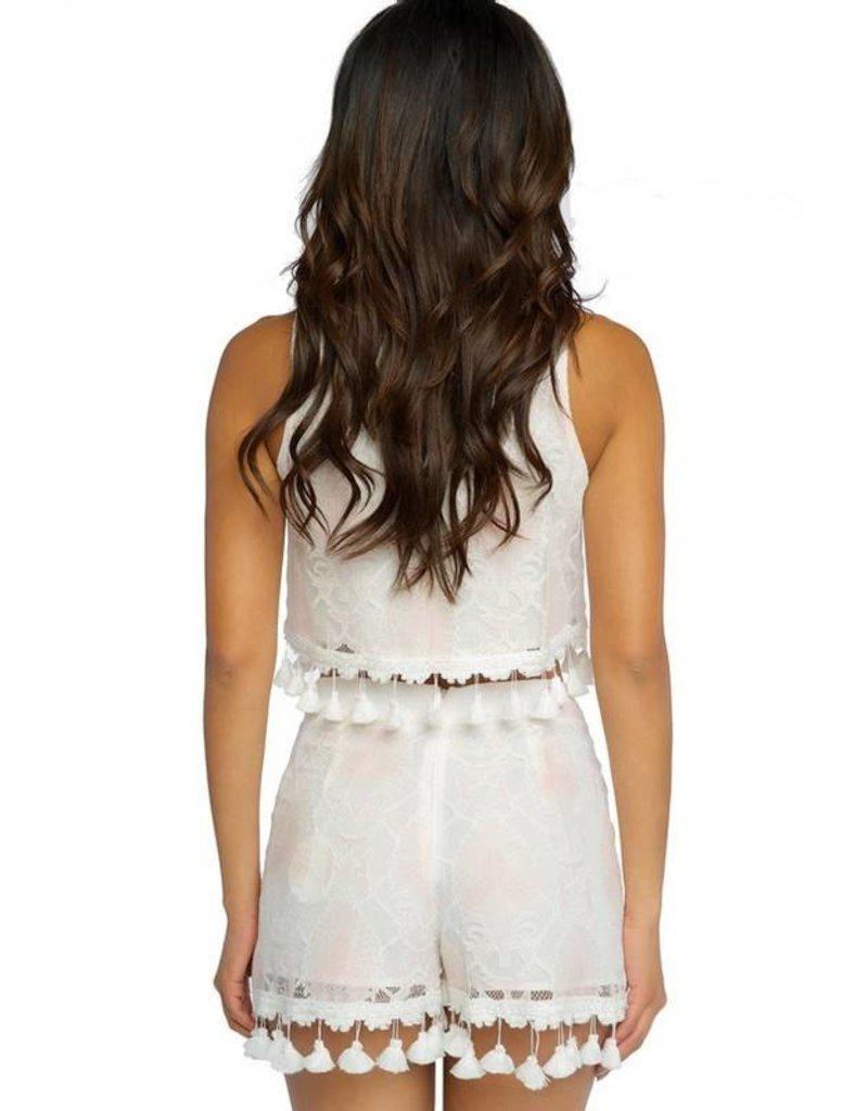 Missy Pink Hearts Tassel Shorts