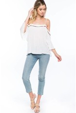 Cold Shoulder Pom Pom Top