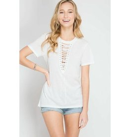 Casual Lace Up Top