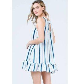 Fashion District LA Malibu Blue Striped Dress