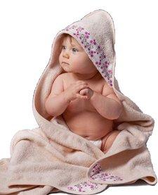 Serviette à capuchon pour bébés Biologique-Fleurs Roses Oko créations