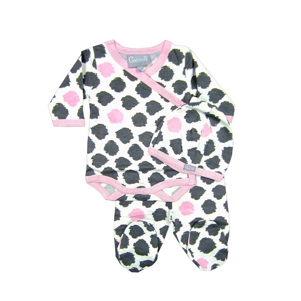 Coccoli Pyjama 2 pièces body et pantalon à pieds motifs tâchetés de Coccoli