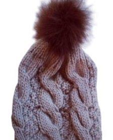 Tuque Grise à Pompon de Plume Alice et Simone/ Grey Hat