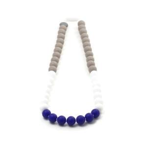 Bulle Collier Maman Chic Color Bloc de Bulle - Jouet de Dentition Profondeur (Taupe, Blanc et Bleu)