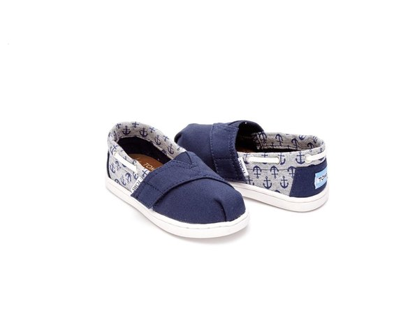 TOMS Chaussures Toms Shoes - Biminis Navy Canvas/Jersey Anchors