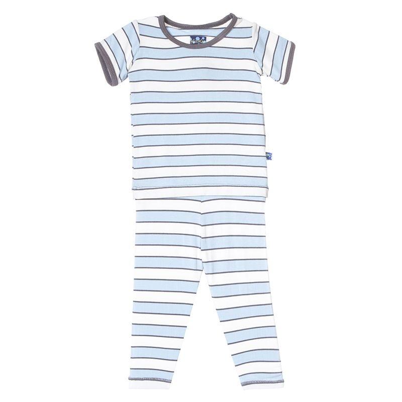 KicKee Pants Pyjama Deux Pièces Rayé de Kickee Pants/ Print Short Sleeve Pajama Set