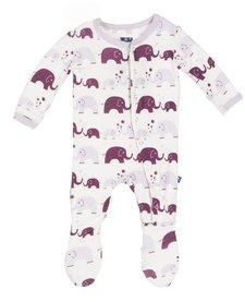 Pyjama avec Éléphants de Kickee Pants/ Kickee Pants Print Footie (Girl Bubble Elephant)