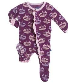 Pyjama Avec Paons de Kickee Pants/Print Ruffle Footie Melody Peacock