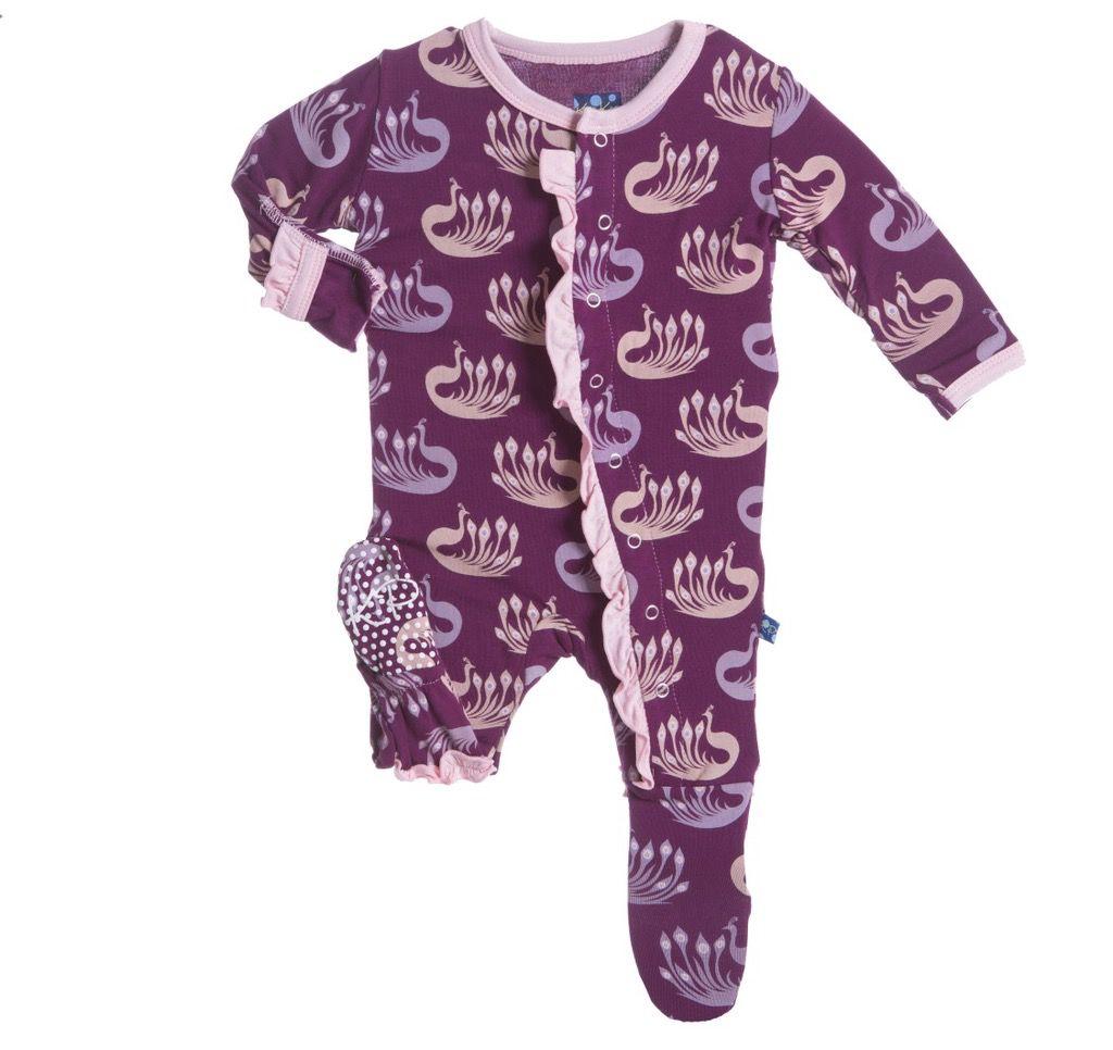 KicKee Pants Pyjama Avec Paons de Kickee Pants/Print Ruffle Footie Melody Peacock