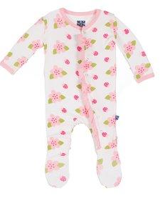 Pyjama Avec Fleurs et Coccinelles de Kickee Pants/Print Ruffle Footie Natural Ladybug