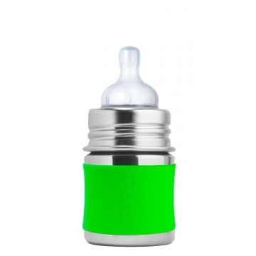 Pura kiki Petit Biberon en acier inoxydable Pura Kiki avec tétine de silicone débit lent - Lime -  Infant Bottle 5 oz. w/ Slow Flow Nipple Green