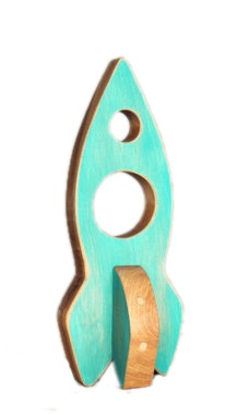 Atelier Saint-Cerf Fusée en Bois Recyclé d'Atelier Saint-Cerf/ Wooden Rocket-Turquoise