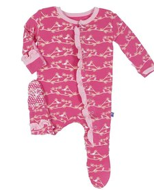 FW16 Pyjama Kickee Pants Oiseaux/ Print Footie Winter Rose Pine Birds