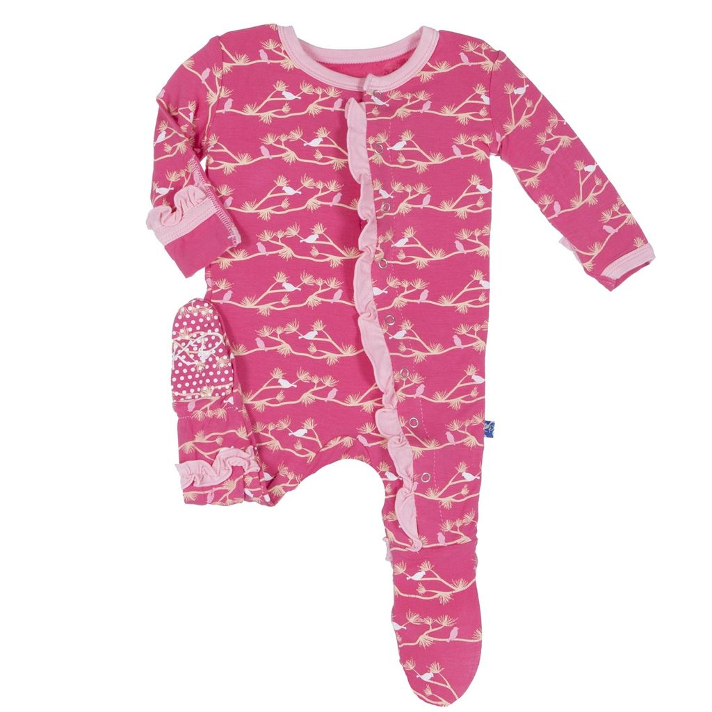 KicKee Pants FW16 Pyjama Kickee Pants Oiseaux/ Print Footie Winter Rose Pine Birds