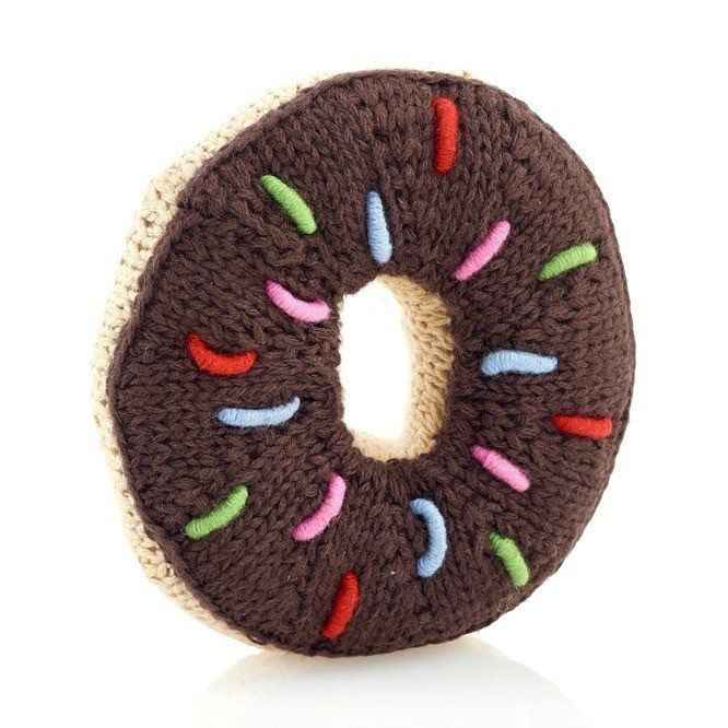 Pebble Hochet en Tricot Beigne Chocolat Pebble/ Chocolate Donut Rattle