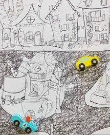 Coloriage Géant Ville de Rue Tabaga (92cm/122cm)/ Giant Coloring Poster City