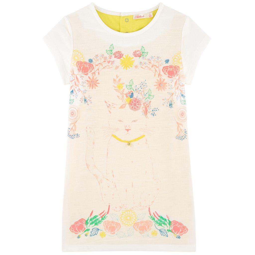 Billieblush SS17- Robe Fleurs et Chat Écru Jaune Billieblush/ Cat Dress