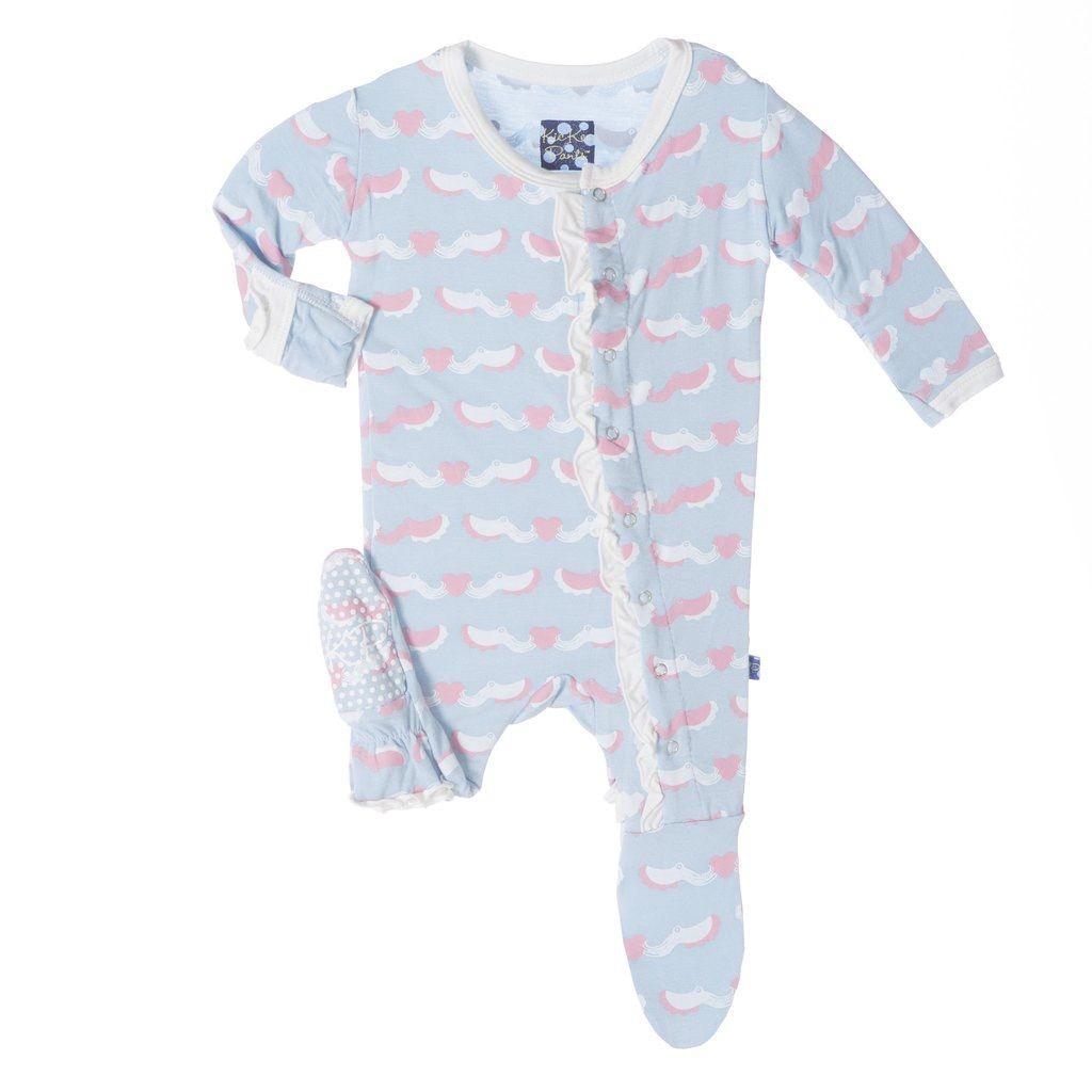 KicKee Pants FW17-Pyjama Kickee Pants Avec Pieuvres/ Print Ruffle Footie Cuttlefish
