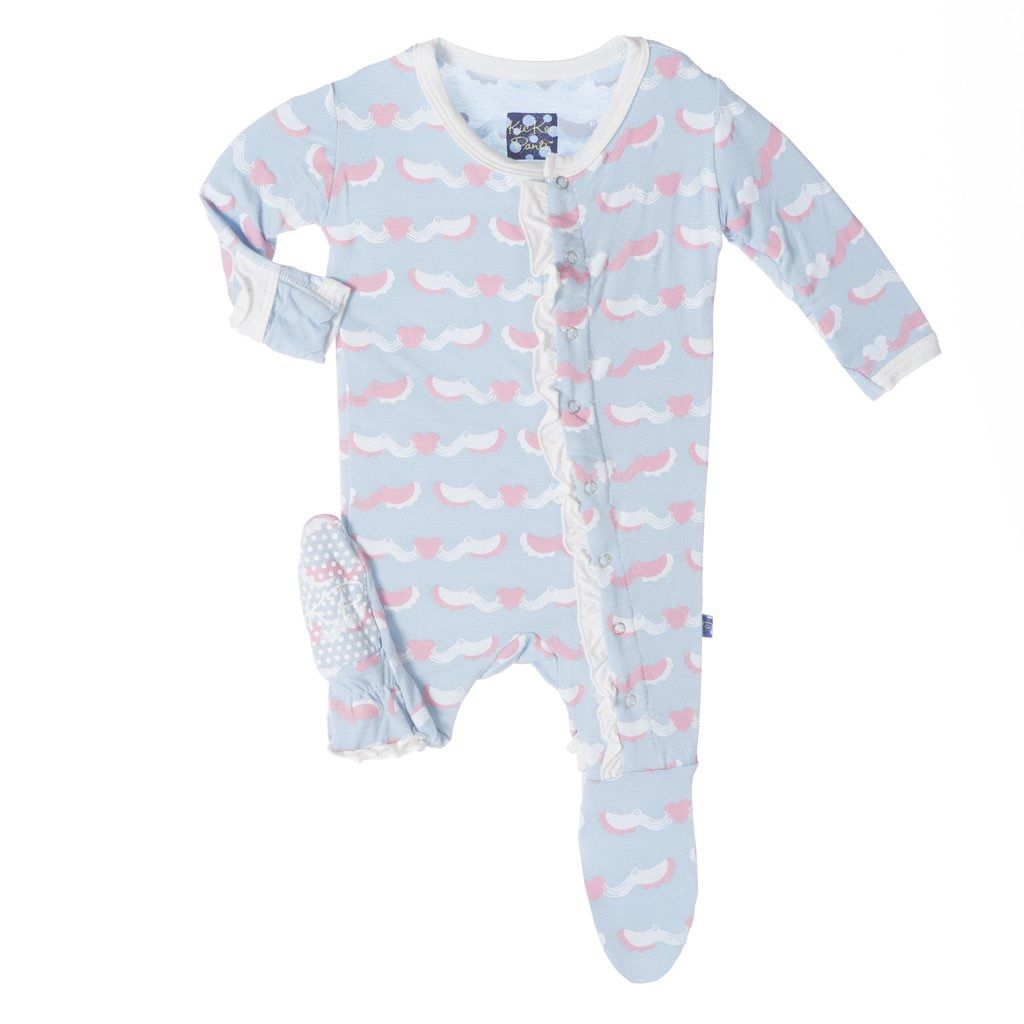 KicKee Pants SS17-Pyjama Kickee Pants Avec Pieuvres/ Print Ruffle Footie Cuttlefish
