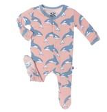KicKee Pants SS17-Pyjama Kickee Pants Avec Baleines/ Print Ruffle Footie Blush Orca