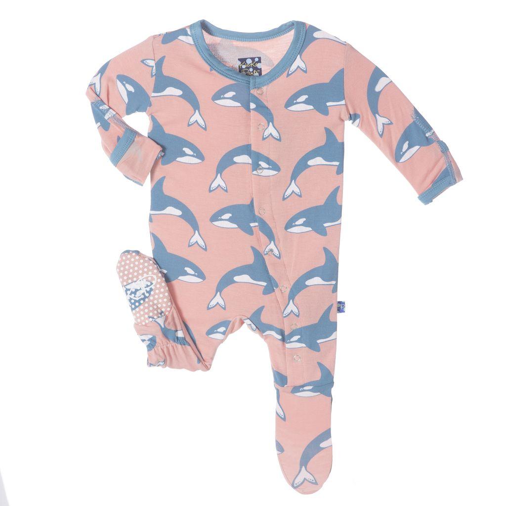 KicKee Pants FW17-Pyjama Kickee Pants Avec Baleines/ Print Ruffle Footie Blush Orca
