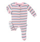 KicKee Pants SS17-Pyjama Kickee Pants Ligné/ Print Footie Girl Salty Sea Stripe