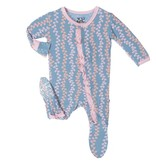 KicKee Pants SS17-Pyjama Kickee Pants Avec Algues/ Print Ruffle Footie Blue Moon Seaweed