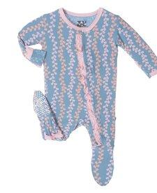 FW17-Pyjama Kickee Pants Avec Algues/ Print Ruffle Footie Blue Moon Seaweed