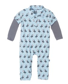 SS17-Barboteuse Polo Kickee Pants / Print Long Sleeve Polo Romper Pond Puffin