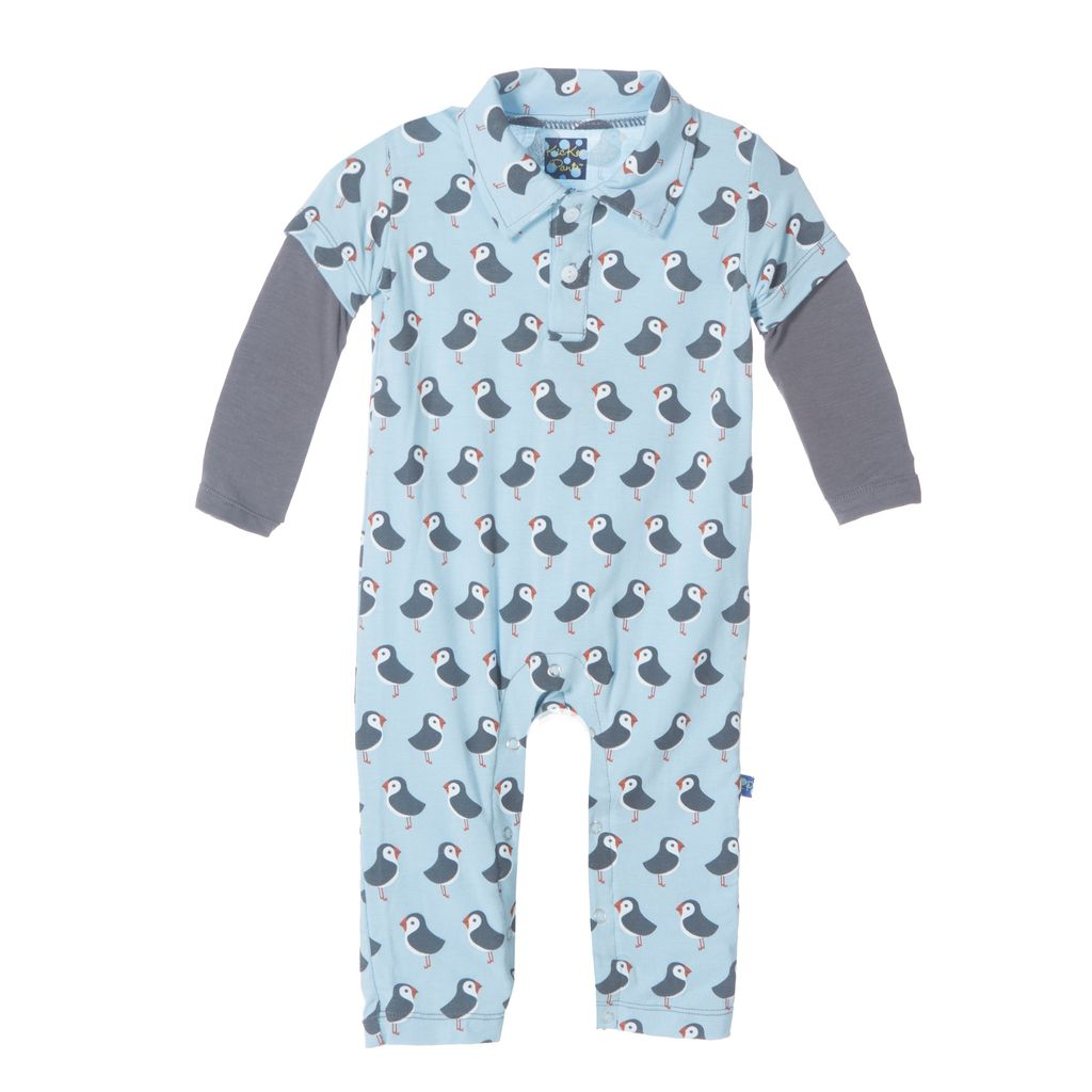 KicKee Pants SS17-Barboteuse Polo Kickee Pants / Print Long Sleeve Polo Romper Pond Puffin