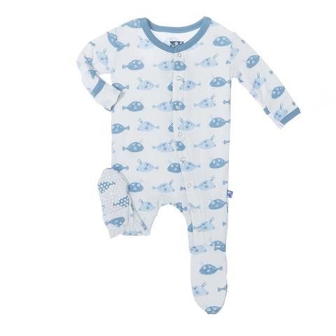 KicKee Pants SS17-Pyjama Kickee Pants Poissons/ Print Footie Boy Cowfish
